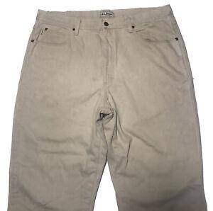 Ll Bean Flannel Jeans Denim Pant Men's 38X32 Off White Work Wear
