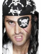 Smiffys Pirate Eyepatch, with Skull and Crossbones - Unisex - One Size