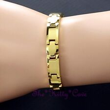 Magnetic Tungsten Arthritis CTS RSI Pain Injuries Unisex Cross 24K Gold Bracelet