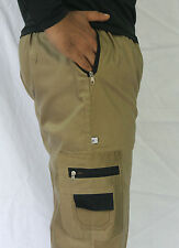 Men's Solids Four Pocket Cargo Pants, Shorts, 3/4th, Casual Wear -Dark Khaki
