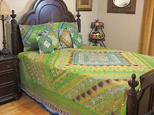 Green Blue Bollywood Indian Bedding - Sari Quilted Duvet Pillow Shams ~ King