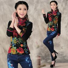 Women Chinese Style Vintage Mandarin Collar T-shirt  Floral Printed Blouse Tops
