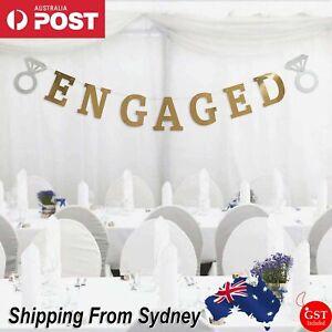 Engaged Gold Banner Bunting Elegant Engagement Wedding Party Decorations 2M AU
