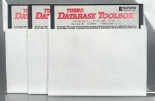 """Borland - Turbo Database Toolbox - Osborne 1 CP/M-80 v1.2 - (3) 5.25"""" Floppys"""