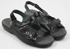 Propet Womens Ladies Black Gray Leather Strappy Mules Sandals Size 8.5M