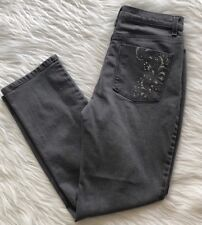 Gloria Vanderbilt AMANDA Jeans Regal Embroidered Studded Gray Size 6
