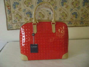 NWT-ARCADIA Patent Leather Large Dome Satchel made in Italy-Red-w-BIN SHIPS FREE