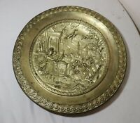 antique ornate figural mythological gilt brass bronze relief plate bowl plaque