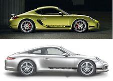 2 x Porsche Seitenstreifen - 911, Cayman - Schwarz Glänzend / Silber / Matt usw.