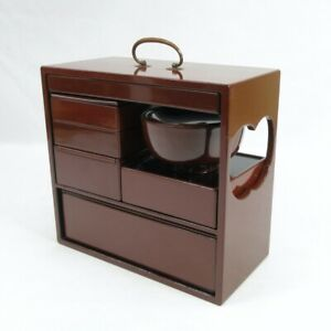 D0362: Japanese old lacquer ware NOBENTO lunch box with all original tools
