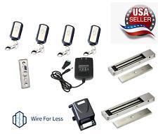 Door Access Control System,2 Electric Magnetic Lock 600lb,1-4 Remote Controls