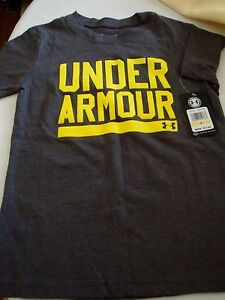 UNDER ARMOUR BOYS T-SHIRT SIZE 4 GRAY & NEON YELLOW NEW SPRING MSRP $17.99