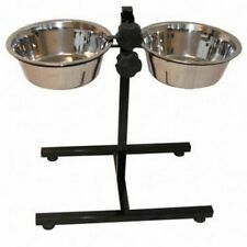 @Pet Twin Pet Feeder Stand 5.6 L Black Dog Double Food Water Bowl Dish 17218