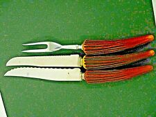 Vintage Bakelite FAUX STAG HORN Knives Set Carving Set lot Authentic tested