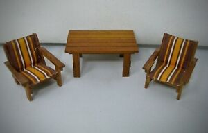 Lundby vintage miniature garden porch patio furniture wood table 2 chairs