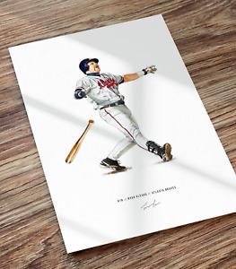 Ryan Klesko Poster Print Home Run Atlanta Braves Illustrated Baseball Art