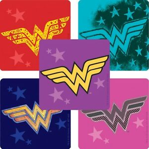 Wonder Woman Stickers x 5 - Birthday Loot - Wonder Woman Logo Stickers - Party