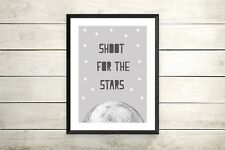 shoot For The Stars quote print- Unisex Nursery Print Kid Room Wall Art Picture
