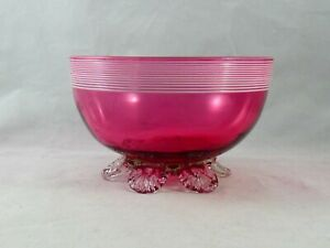 Antique Victorian White Threaded Cranberry Glass Footed Bowl