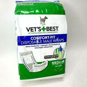 VETS BEST Comfort Fit Disposable Male Wrap, 12 Count  Medium Size Wraps New