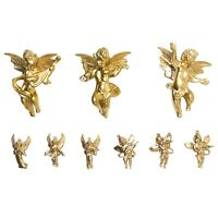 Vintage Gold Hard Plastic Christmas Ornaments Angels Cherubs Variety Of 9 Small