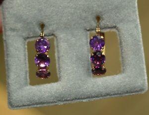 14k Gold Amethyst Hoop Earrings in 14K Yellow Gold - New In Box