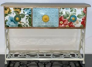The Pioneer Woman Wood Ceramic Floral 3-Drawer Spice Tea Box Holder