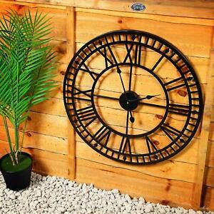 60cm Large Wall Clock Outdoor Garden Big Roman Numerals Giant Open Face Metal