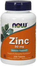 Now Foods ZINC 50mg Immune Antioxidant Support 250 tabs STOP COLDS, FLU, VIRUSES