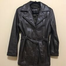 Wilsons Brown Leather Coat Logo Buttons Thinsulate Heavy Winter Lined Womens S