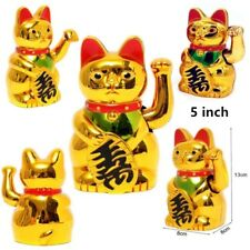 """5"""" Feng Shui Chinese Style Electric Lucky Waving Figure Moving Arm Cute Gold Cat"""