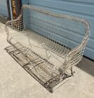 Antique Victorian 1800s Twisted Wire Bench French Garden White Farmhouse Country