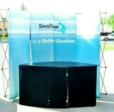 Nomadic Curved Tradeshow Display Counter Backdrop 10x75 With Road Cases
