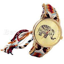 Retro Elephant Pattern Weaved Rope Band Fashion Women Ladies Quartz Wrist Watch