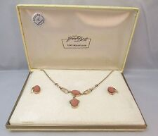 VAN DELL 12K GOLD FILLED NECKLACE & GOLDSTONE EARRINGS SET IN ORIGINAL BOX **