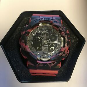 CASIO G-SHOCK GA100CM-4A RED Camouflage Men's Watch New in Box