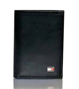 Tommy Hilfiger Men's Leather Trifold Wallet Oxford Slim Black