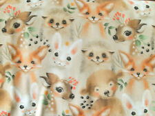 30 cm Jersey Jerseystoff Stoff Waldtiere Fuchs Reh Igel Bär Hase Kinderstoff