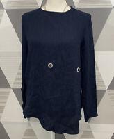 Zara Basic Women's Size XS Navy Blue Scoop Neck Long Sleeve Top Blouse #10C38