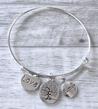 Love~Family~Family Tree 3 bright Silver charm Expandable Bangle Bracelet