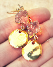 24K Gold Rose Mauve Pink Crystal Druzy Quartz Gem Jewelry Hammered Disk Earrings