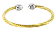 "Stainless Steel Gold Plated Magnetic Therapy Cuff Bracelet and 2.5"" #JBMC010"