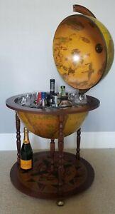 Italian Made World Globe Mini Bar Cart Liquor Cabinet