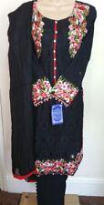 Ladies 3 Piece Ready Made Net Design Salwar Kameez Suit Black Multi 2 Small left