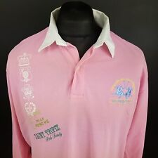LA MARTINA Mens Polo Shirt 2XL Long Sleeve Pink Regular Fit  Cotton