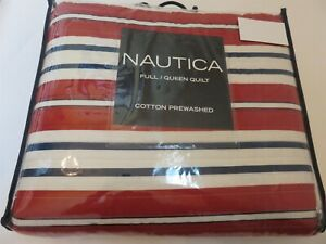 Nautica Brigantine Stripe Red white blue full queen quilt New