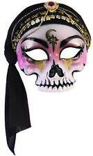 Fortune Teller Mysterious Gypsy Half Skull Mask w Black Scarf Costume Accessory