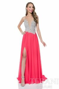TERANI COUTURE CORAL PEARL ENCRUSTED ILLUSION GOWN