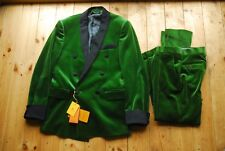 "Green Velvet Double Breasted Dinner Dress Suit Tuxedo by Etro 36"" 32x30"