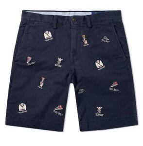 Ralph Lauren Embroidered Bear Chino Shorts Aviator Navy 32W RRP £119